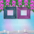 Foto Stock: Wooden frames on the wall with branches of beautiful orchids for