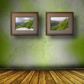 Photos of the Crimea in the old wooden frame on the wall — Stock Photo