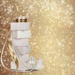 les cases blanches avec des cadeaux d'or ruban belle backg abstraite — Photo
