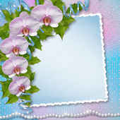 Greeting card with beautiful branch orchid and pearls for a wedd — Zdjęcie stockowe