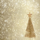 Christmas greeting card with gold metal firtree on the abstract — Stock Photo