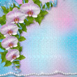 Greeting card with beautiful branch orchid and pearls for a wedd — Stockfoto