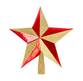 Golden glittering Christmas star on isolated white background — Stock Photo