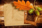 Viejo carro grunge con hojas de otoño de roble y bellotas en la stc — Foto de Stock