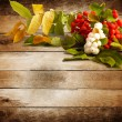 Stock Photo: Rowbranch with berries on old wooden background