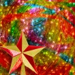 Christmas star on Gold abstract snowy background  — Stock Photo