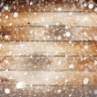 Old wooden background with snow for design — Stock Photo