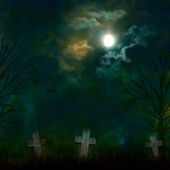 Spooky Halloween graveyard with dark clouds and ominous moon — Stock Photo
