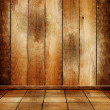 Stock Photo: Empty old wooden room with parquet floor