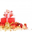 Christmas gifts and balls with gold ribbon isolated on a white b — Stock Photo