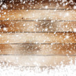 Old wooden background with snow for design — Stock Photo #32333729