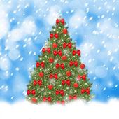 Weihnachtsbaum mit roten kugeln und schönen bögen auf abstrakte sno — Stockfoto