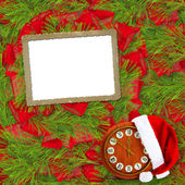 Santa Claus hat, clock and Christmas tree with frame on the abst — Stock Photo