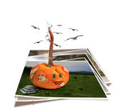 Collapsing house pumpkin wall with fragments isolated on abstrac — Stock Photo