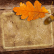 Old grunge paper with autumn oak leaves and acorns on the abstra — Stock Photo