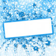 New year greeting card with flowers on a blue star background — ストック写真