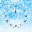 Abstract snow background with New Year's clock face — Lizenzfreies Foto