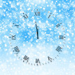 Abstract snow background with New Year's clock face — ストック写真