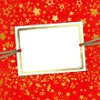 Greeting card with frame on a beautiful background with gold sta — Стоковая фотография