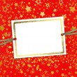 Greeting card with frame on a beautiful background with gold sta — ストック写真