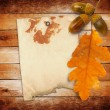 Old grunge paper with autumn oak leaves and acorns on the wooden — Stock Photo #33818693