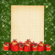 Christmas greeting card with presents — Stock Photo