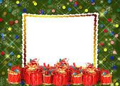Christmas greeting card with presents — Photo