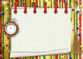 Christmas gifts to the clock on the abstract background — Zdjęcie stockowe