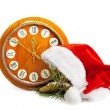 Santa Claus hat, clock and Christmas tree isolated on white back — Foto Stock