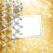 Greeting card with ribbons on a beautiful background with stars — Stock Photo