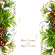 Christmas fir branch with pine cones, gold streamers and stars — ストック写真