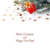 圣诞树枝在一个红色的盒子里的一件礼物 — 图库照片