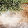 Christmas tree branch on the snow-covered wooden background — Stok fotoğraf