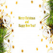 Christmas fir branch with pine cones, gold streamers and stars — Stock Photo #35312765