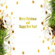 Stock Photo: Christmas fir branch with pine cones, gold streamers and stars