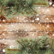 Christmas tree branch on the snow-covered wooden background — Stock Photo #35312767