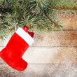 Red christmas boot  — Stockfoto
