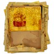 Vintage greeting card with gift boxes and beautiful golden bow — Stok fotoğraf