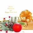 Stock Photo: Christmas tree branch with gold serpentine, gift box and red sph