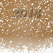 Snow-covered Paper numbers of new 2014 with confetti on an abstr — Stock Photo