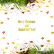 Christmas fir branch with pine cones, gold streamers and stars o — стоковое фото #35783115