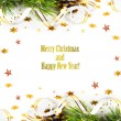 Christmas fir branch with pine cones, gold streamers and stars o — Stok fotoğraf