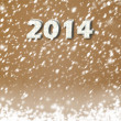 Snow-covered Paper numbers of new 2014 with confetti on an abstr — Foto Stock