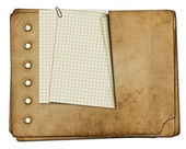 Vintage photoalbum for photos on white isolated background — Stock Photo