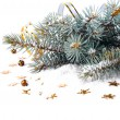 Christmas fir branch with gold streamers and stars — Stock Photo