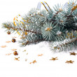 Stock Photo: Christmas fir branch with gold streamers and stars