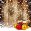 Golden gift box with Christmas balls and garlands of beautiful beads — Stock Photo #36407015