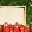 Christmas greeting card with presents on the  green abstract background — Photo