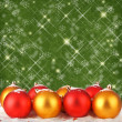Christmas ball with greeting card on the abstract sparkling background — Foto Stock