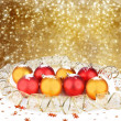 Christmas ball with greeting card on the abstract sparkling background  — Stock Photo